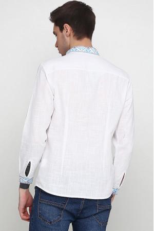 Вишиванка «Сніжинка» білого кольору з синім орнаментом, ДР
