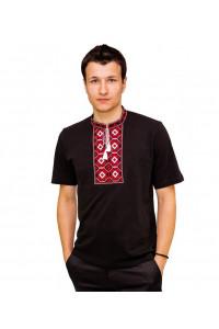 Футболка «Ромбы» черная с вышивкой красного цвета КР