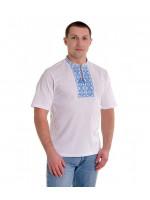 Футболка «Ромбы» белая с вышивкой голубого цвета КР