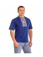 Футболка «Ромбы» голубая с вышивкой белого цвета КР