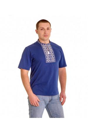 Футболка «Ромби» блакитна з вишивкою білого кольору КР