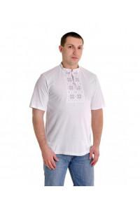 Футболка «Народная» белая с вышивкой серого цвета КР