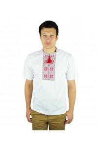 Футболка «Народная» белая с вышивкой красного цвета КР