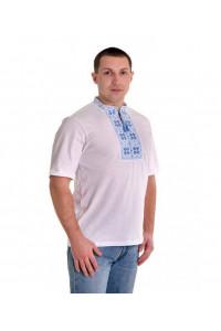 Футболка «Народная» белая с вышивкой голубого цвета КР