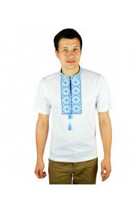 Футболка «Сварга» белая с вышивкой голубого цвета КР