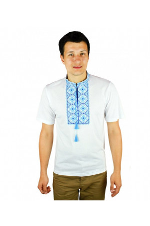Футболка «Сварга» біла з вишивкою блакитного кольору КР