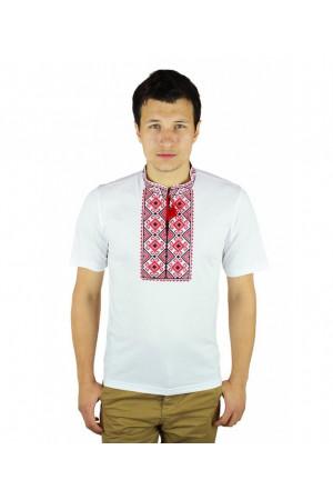 Футболка «Сварга» біла з вишивкою червоного кольору КР