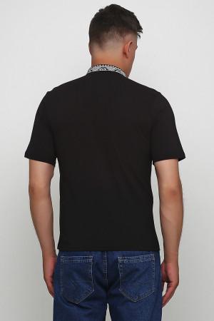 Футболка «Сварга» черная с вышивкой серо-белого цвета КР