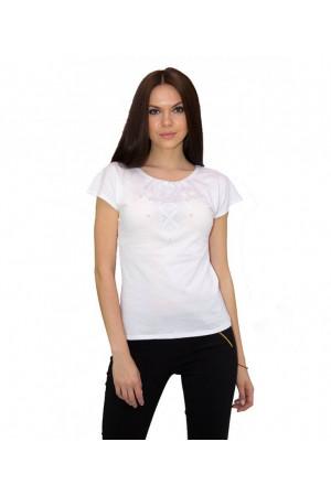 Футболка «Святкова» біла з вишивкою сірого кольору