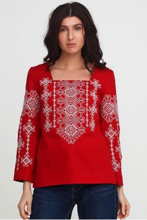 Вышиванка «Радослава» красная с вышивкой белого цвета