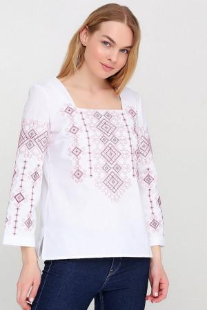 Вышиванка «Радослава» белая с вышивкой розового цвета