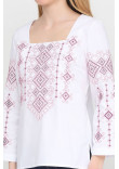 Вишиванка «Радослава» біла з вишивкою рожевого кольору