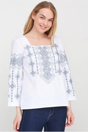 Вышиванка «Радослава» белая с вышивкой синего цвета
