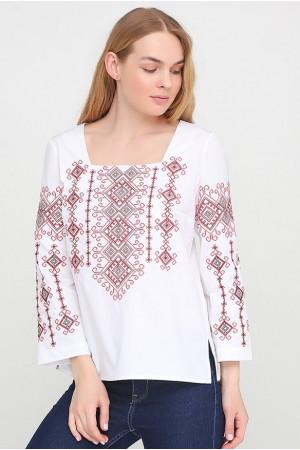 Вышиванка «Радослава» белая с вышивкой красного цвета