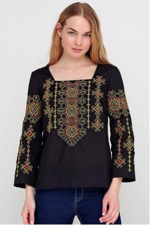 Вышиванка «Радослава» черная с вышивкой желто-красного цвета