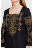Вишиванка «Радослава» чорна з вишивкою червоно-жовтого кольору