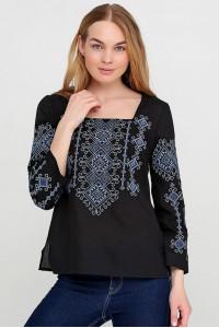 Вишиванка «Радослава» чорна з вишивкою синьо-блакитного кольору