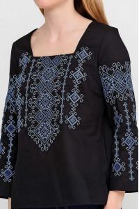 Вышиванка «Радослава» черная с вышивкой сине-голубого цвета