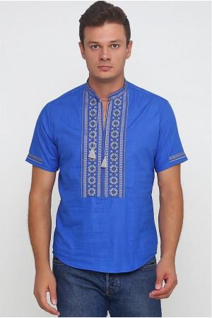 Вышиванка «Обереговая» синяя с вышивкой серого цвета КР