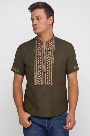 Вышиванка «Обереговая» оливковая с вышивкой коричневого цвета КР