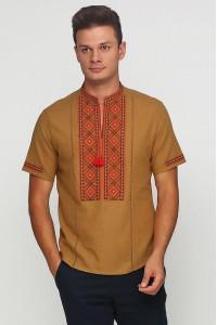 Вышиванка «Котигорошко» горчичная с вышивкой красно-коричневого цвета КР