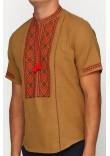 Вишиванка «Котигорошко» гірчична з вишивкою червоно-коричневого кольору КР