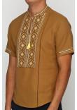 Вишиванка «Котигорошко» гірчична з вишивкою жовто-коричневого кольору КР