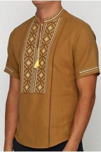 Вышиванка «Котигорошко» горчичная с вышивкой желто-коричневого цвета КР