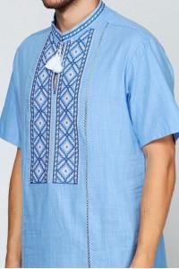 Вышиванка «Котигорошко» голубая с вышивкой белого цвета КР