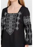 Вишиванка «Радослава» чорна з вишивкою біло-сірого кольору
