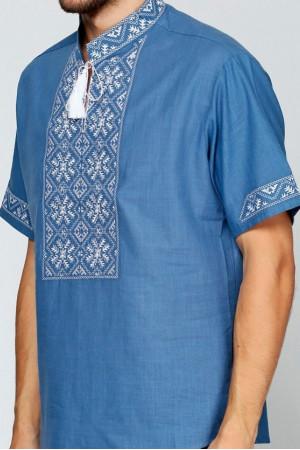 Вишиванка «Сніжинка» синя з вишивкою білого кольору КР