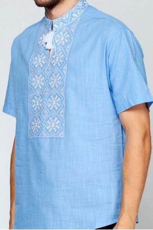 Вишиванка «Сніжинка» блакитна з вишивкою білого кольору КР