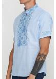 Вишиванка «Сніжинка» блакитна з вишивкою синього кольору КР