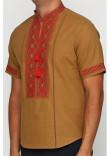 Вишиванка «Марко» гірчична з вишивкою червоно-коричневого кольору КР