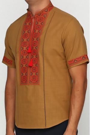Вышиванка «Марко» горчичная с вышивкой красно-коричневого цвета КР