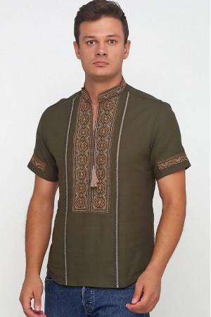 Вышиванка «Марко» оливковая с вышивкой бронзового цвета КР