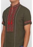 Вишиванка «Марко» оливкова з вишивкою червоно-коричневого кольору КР