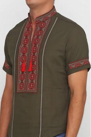 Вышиванка «Марко» оливковая с вышивкой красно-коричневого цвета КР