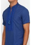 Вишиванка «Оберегова» темно-синя з вишивкою кольору електрик КР