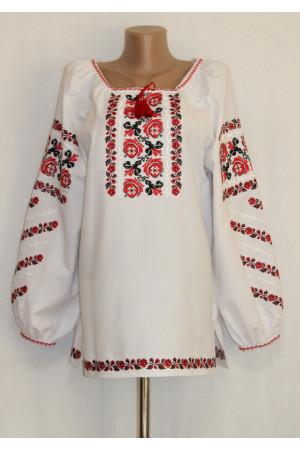 Вышиванка «Полтавские розы» красного цвета
