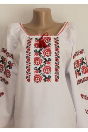 Вишиванка «Полтавські троянди» червоного кольору