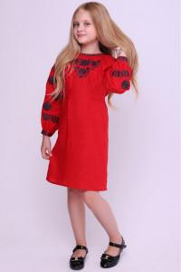 Платье для девочки «Гафийка» красного цвета