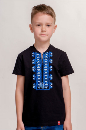 Футболка для мальчика «Матвей» черная с синим орнаментом