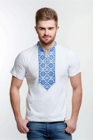 Мужская футболка «Григорий» белая с синим орнаментом