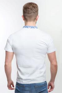 Чоловіча футболка «Григорій» біла з синім орнаментом