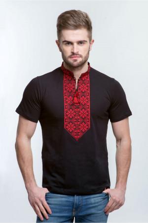 Чоловіча футболка «Григорій» чорна з червоним орнаментом