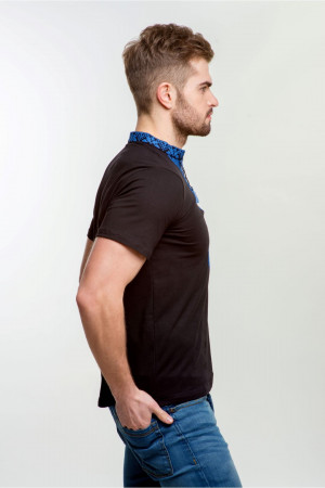 Мужская футболка «Григорий» черная с синим орнаментом