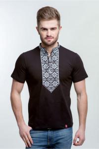Чоловіча футболка «Григорій» чорна з білим орнаментом