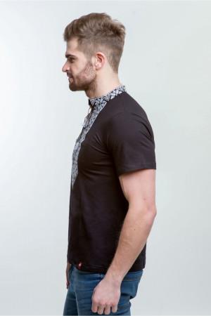 Мужская футболка «Григорий» черная с белым орнаментом