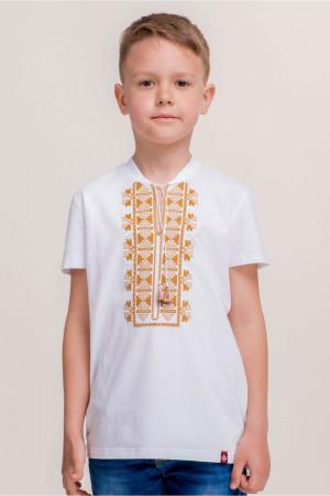 Футболка для хлопчика «Матвій» біла з золотавим орнаментом